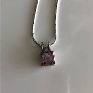 925. Silver purple crystal necklace